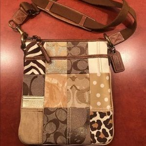 COACH Patchwork brown swing pack crossbody 10818